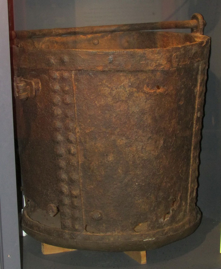 This is said to be the large metal bucket known as a 'Kibble' used to rescue the sole survivor of the second explosion and can be seen at the National Coal Mining Museum for England