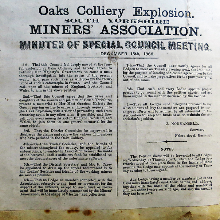 This photograph is of the original minutes of a special meeting of the union about the disaster