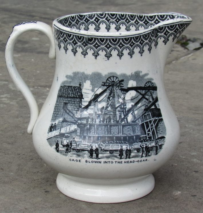 Oaks Commemorative Milk Jug 'Cage Blown Into The Head-Gear'